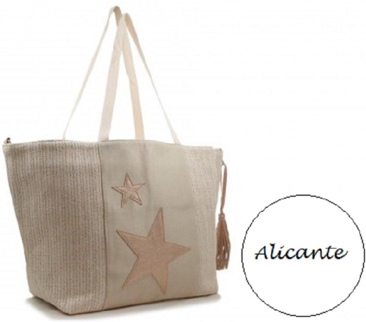 cb3dca0d907 bol.com | Stoere roze beach shopper - strandtas Alicante XL met sterren