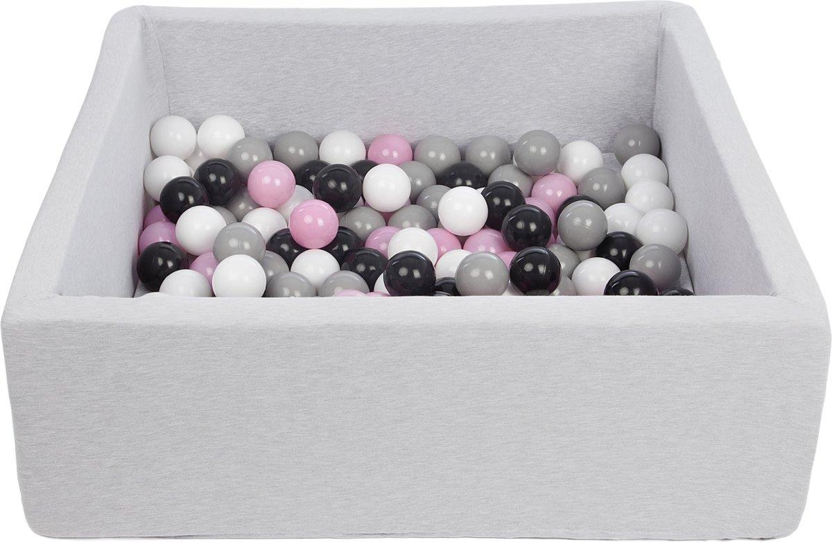 Zachte Jersey baby kinderen Ballenbak met 150 ballen, 90x90 cm - zwart, wit, lichtroze, grijs