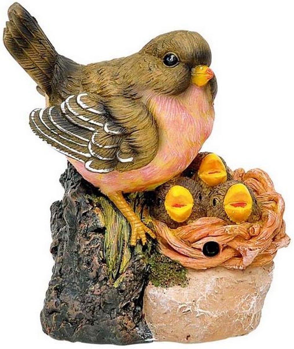 Vogel op nest fluitend met sensor - set van 3 stuks