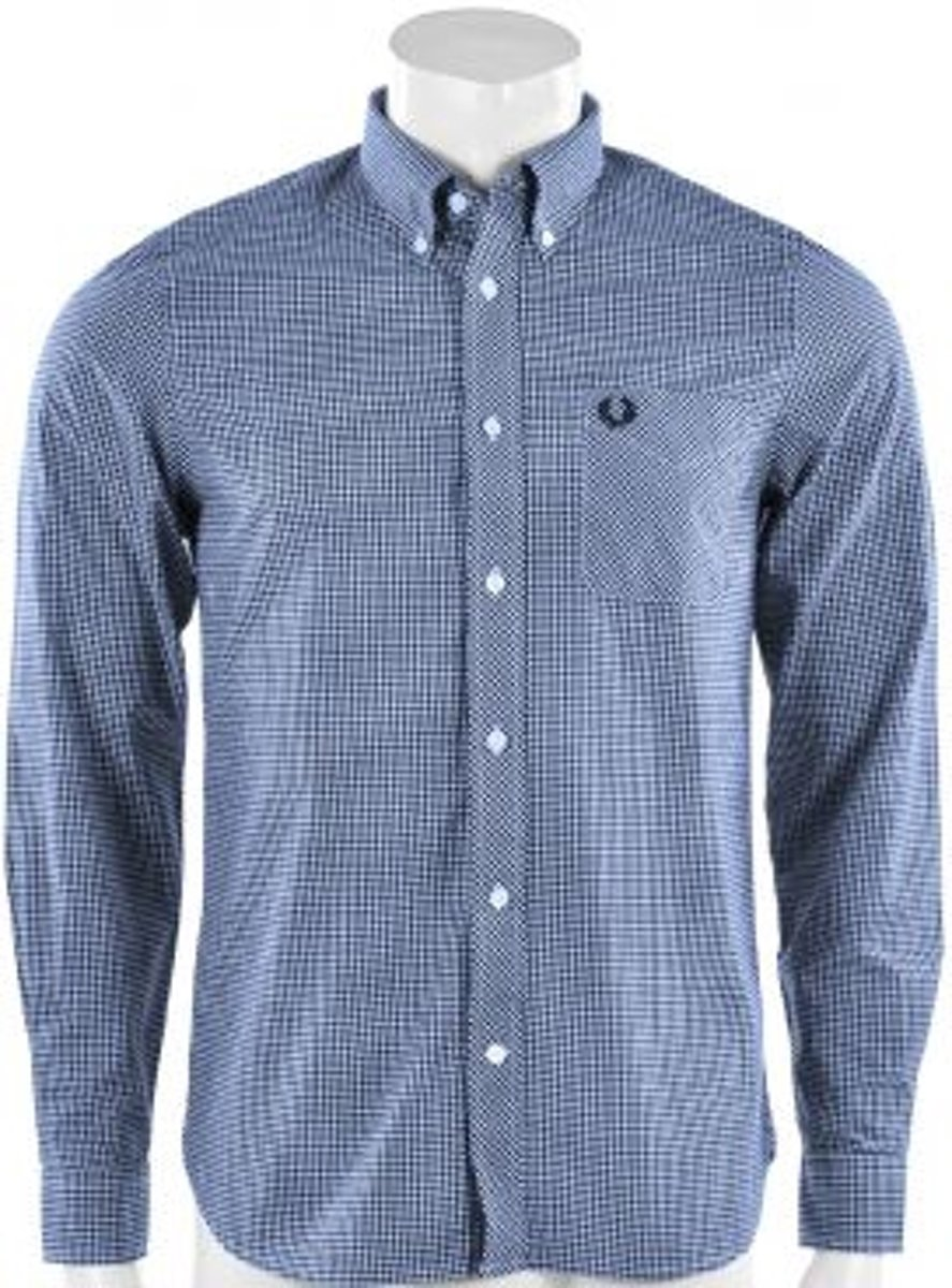 Fred Perry Classic Gingham Long Sleeve Shirt - Sportshirt -  Heren - Maat S - Blauw;Rood