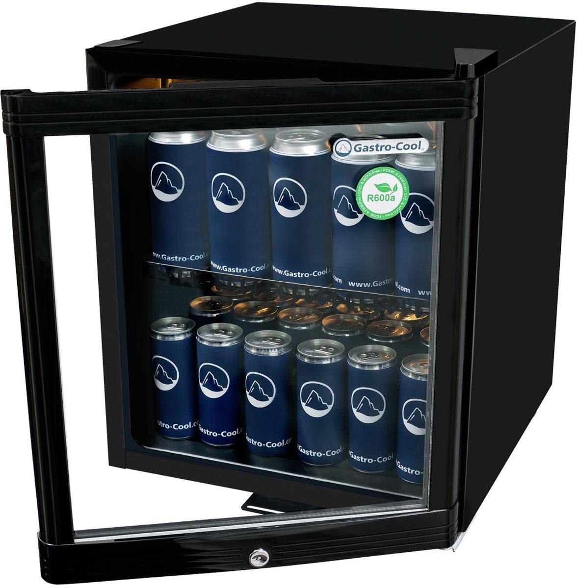 Gastro-Cool KW50 - Mini koelkast met glazen deur 46 Liter - Zwart/Zwart/Zwart 203100 kopen