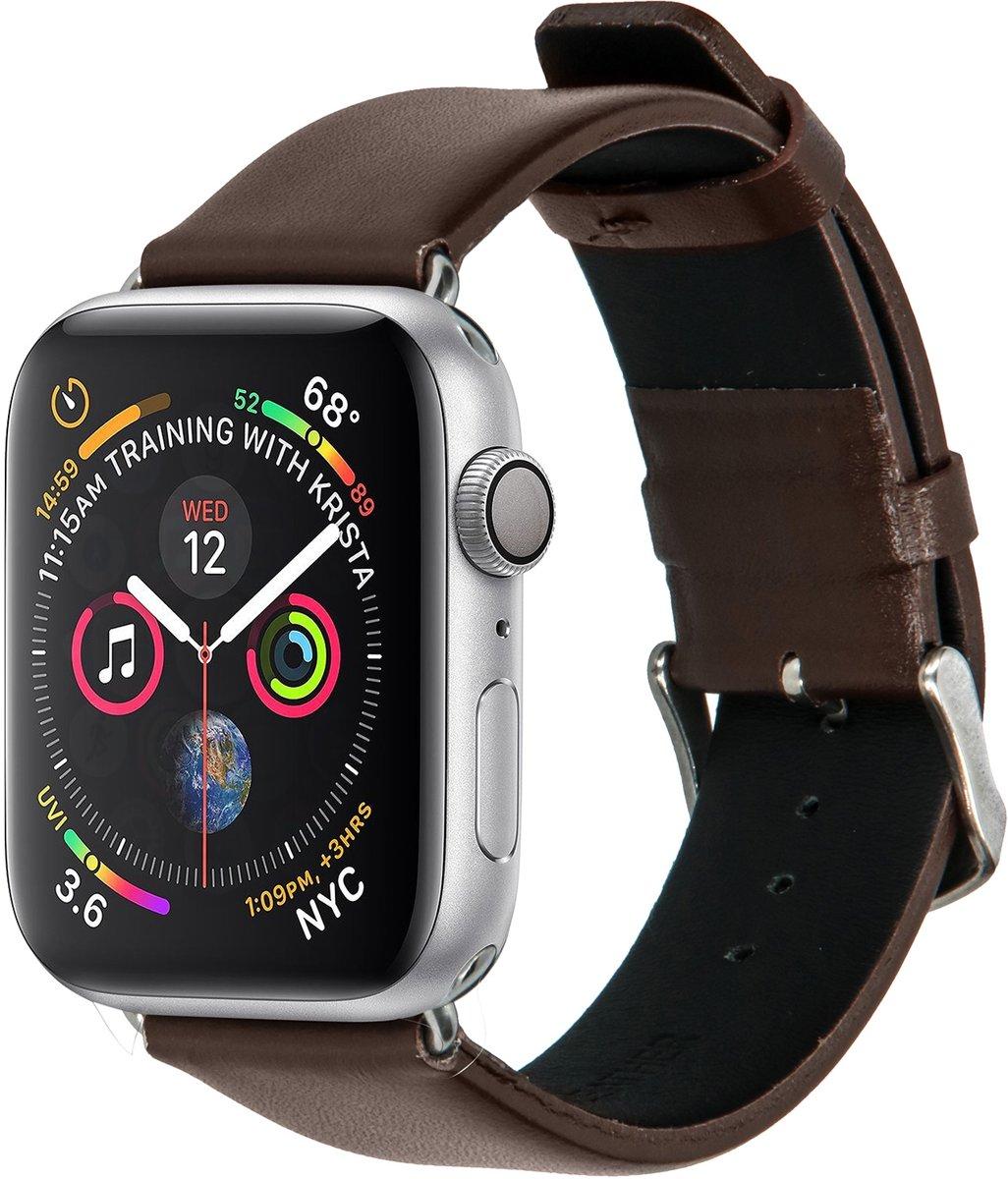 Donkerbruin effen lederen bandje voor de Apple Watch 44 mm / 42 mm kopen