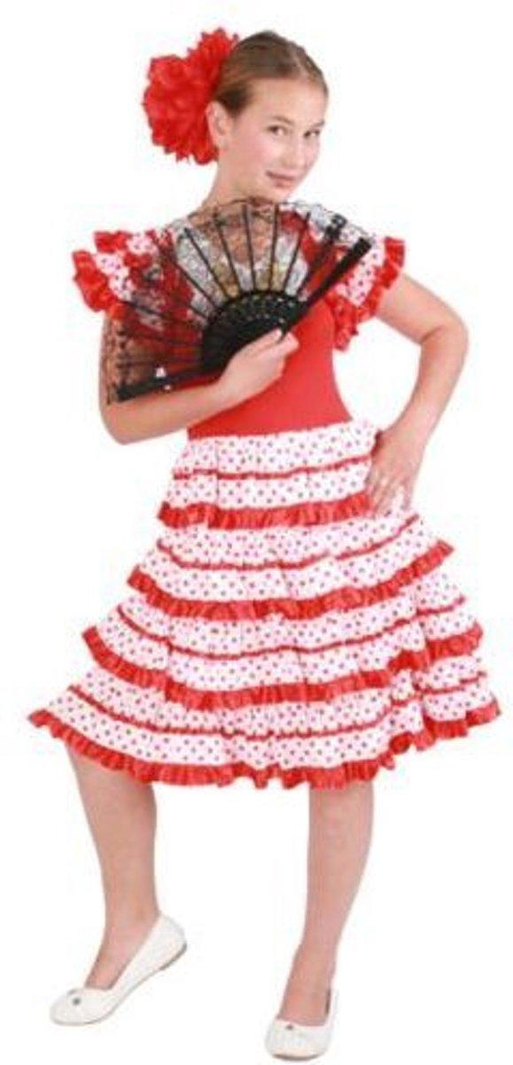 Spaanse jurk andalusia - Kostuum - 6 jaar - Rood