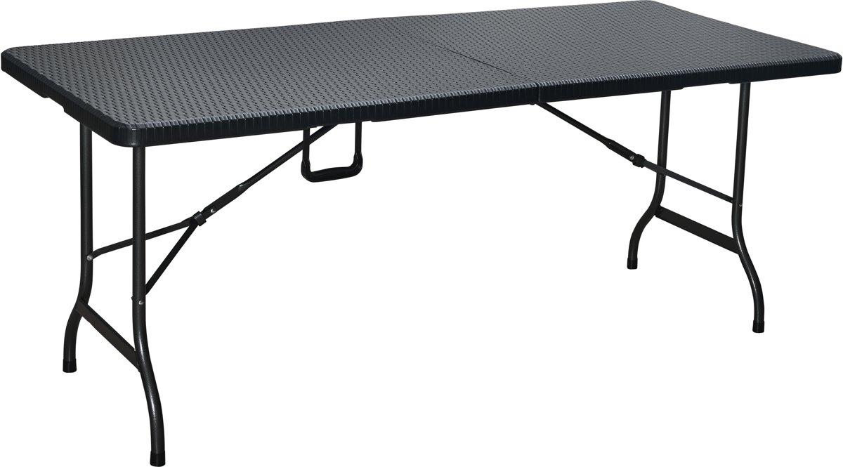 Kunststof vouwtafel - Wickerlook - Zwart - 180 cm lang - 75 cm breed - Aluminium frame kopen
