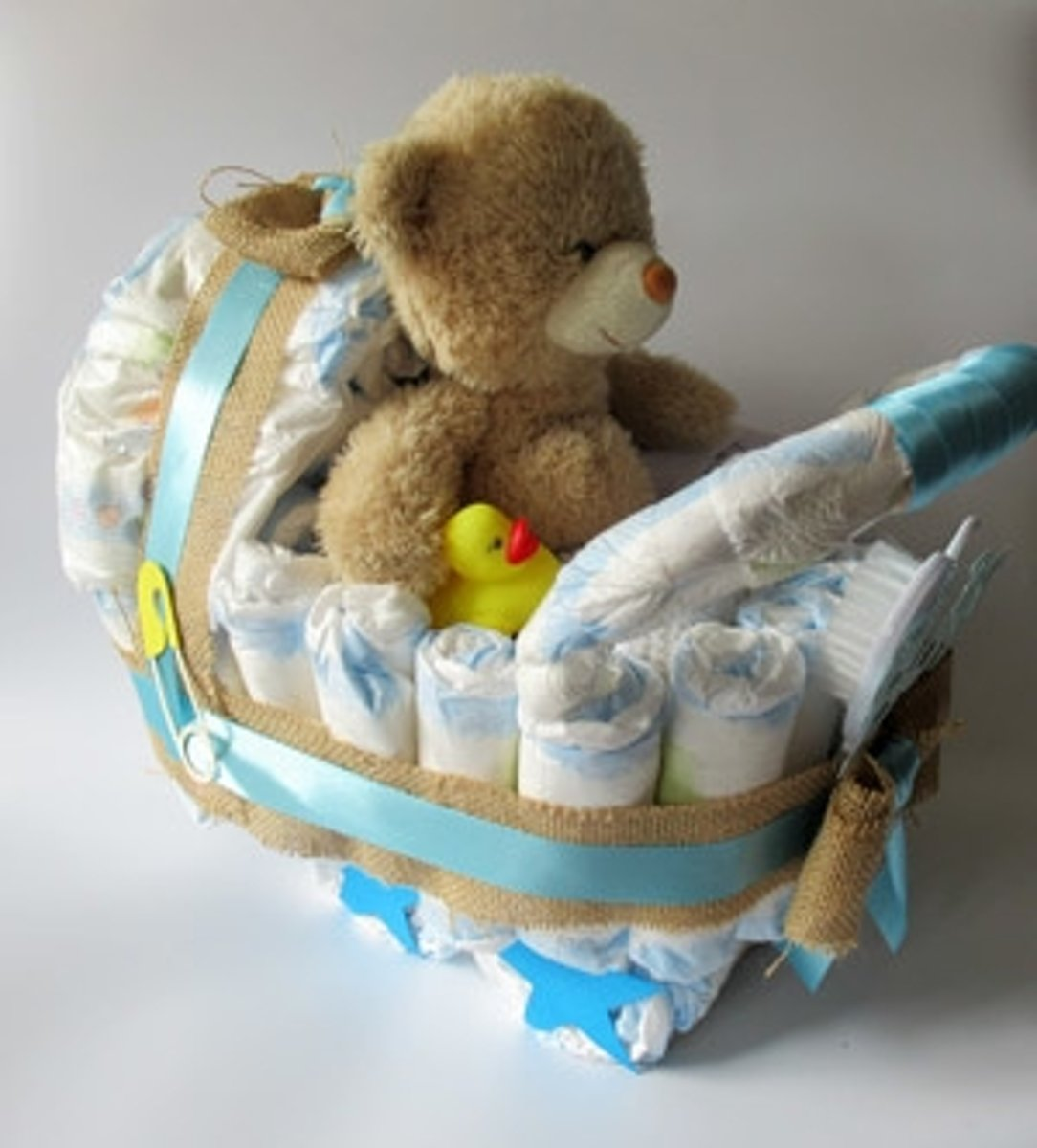 Luiertaart Kinderwagen Beer Blauw | Kraamcadeau | Kraampakket | Baby Cadeau
