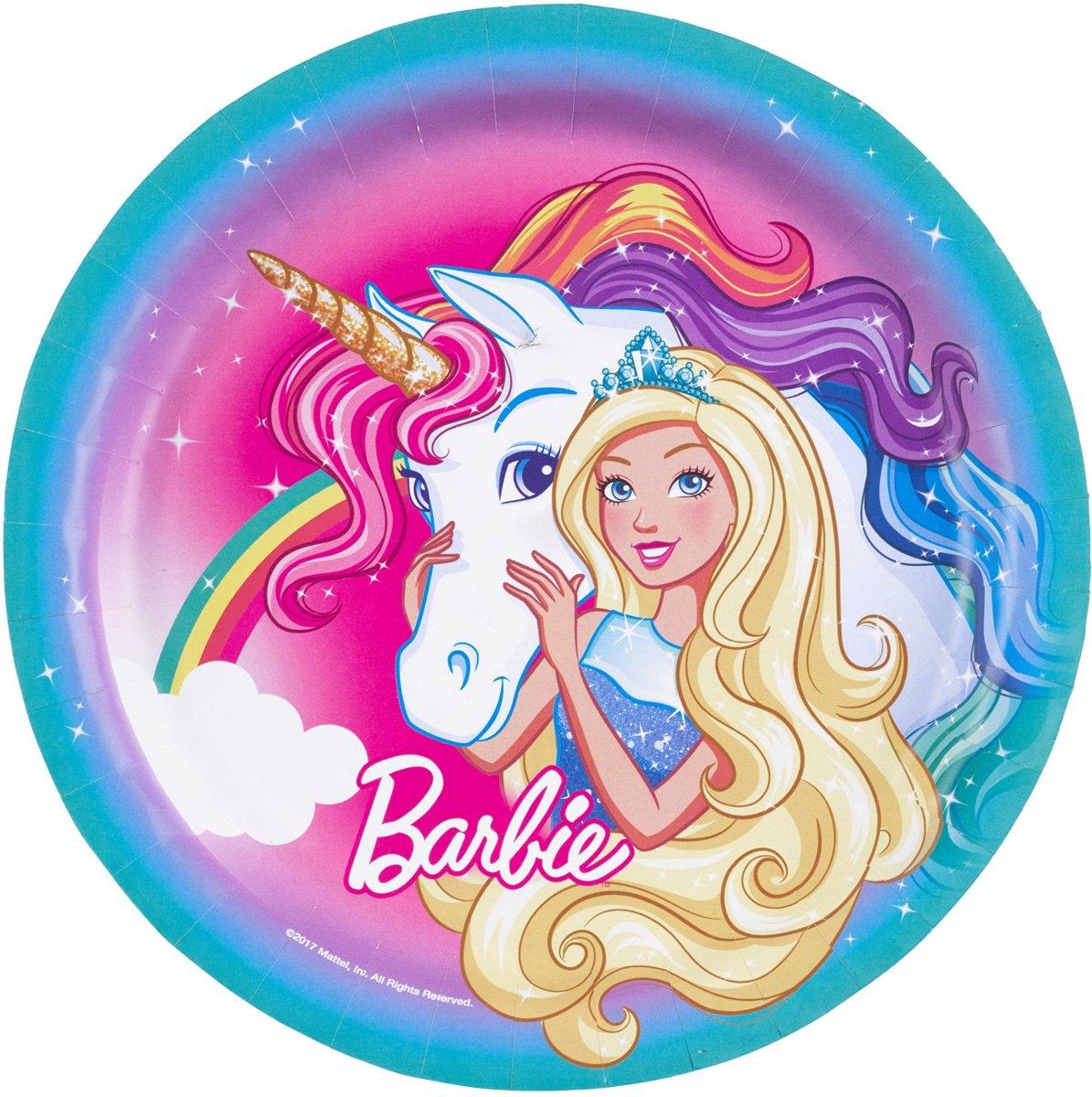 8 kartonnen bordjes Barbie Dreamtopia? - Feestdecoratievoorwerp
