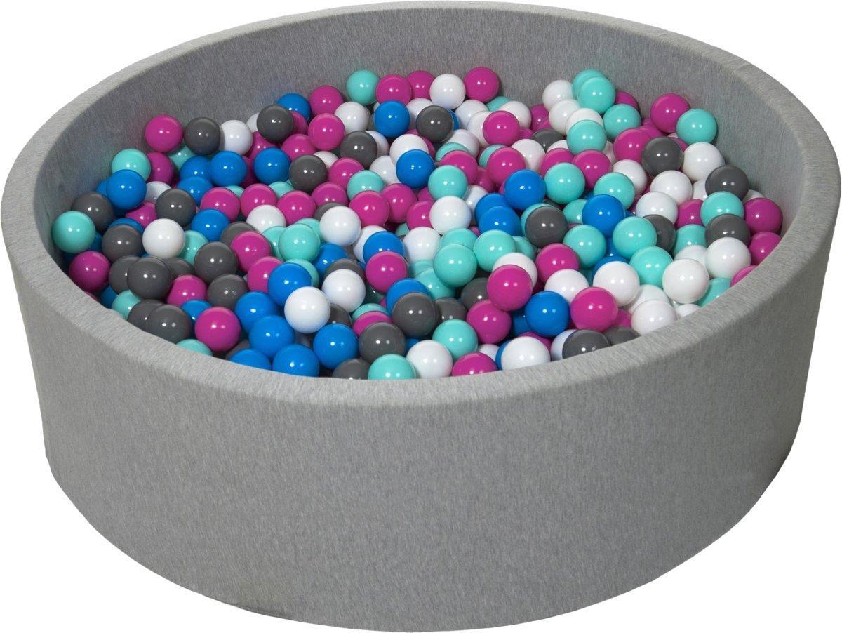 Zachte Jersey baby kinderen Ballenbak met 900 ballen, diameter 125 cm - wit, blauw, roze, grijs, turkoois