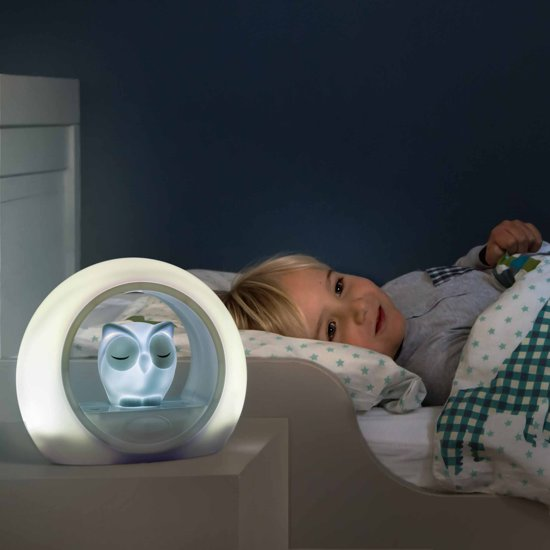 Zazu Lou Uil - Nachtlampje - Grijs - Kinderlamp met geluidsensor en nachtlamp functie