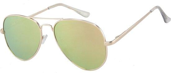 Zonnebril Klassiek Piloot - Aviator Classic Sunglasses - UV 400 bescherming - Glazen 55mm - Goudkleurig montuur - Dielay