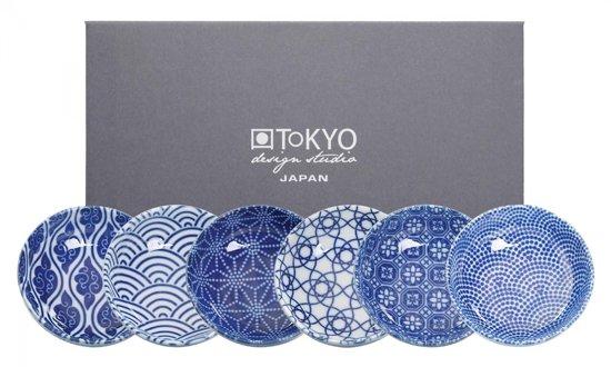 Tokyo Design Studio Nippon Blue Schaaltje - Rond - Porselein - Blauw/Wit - 6 stuks