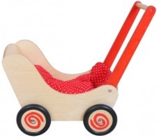 Simply for kids Houten poppenwagen rood