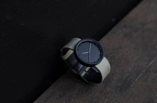 LEFF amsterdam tube watch D38 black / sand nylon-leather strap