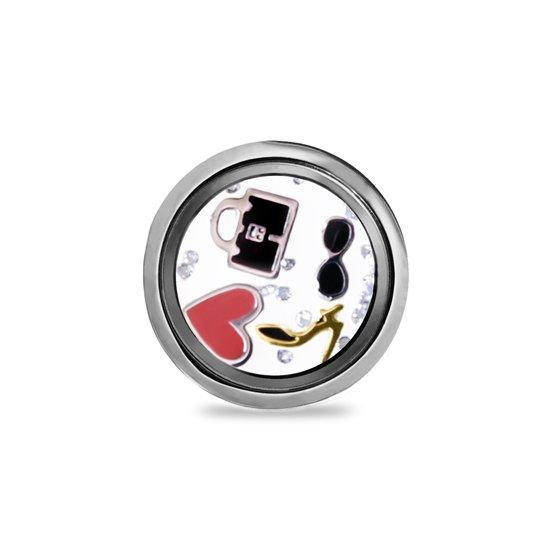 LOCKits 982501823 - Stalen glazen munt - beweegbare bedels en kristallen - 20-2 mm - zilverkleurig