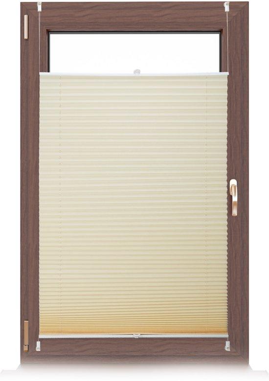 relaxdays plissegordijn - plissé jaloezie beige - zonder boren - opvouwbaar - vers. maten 100x130cm