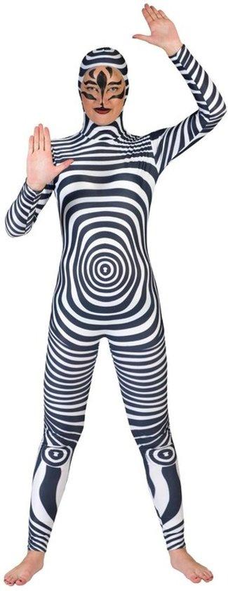 Zebra catsuit/second skin verkleed kostuum voor volwassenen - carnavalskleding 40-42 (L/XL)