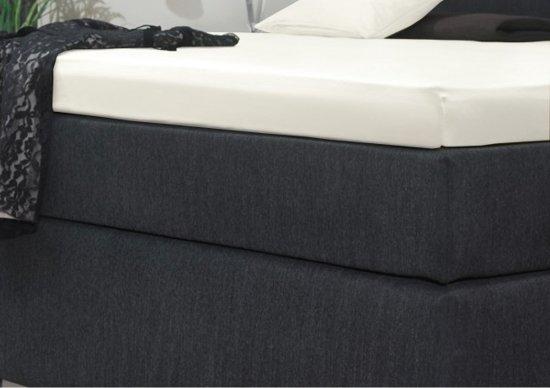 Senzatione Katoensatijn Split Topdek / Topper Hoeslaken 180x210+15 cm Wit 04