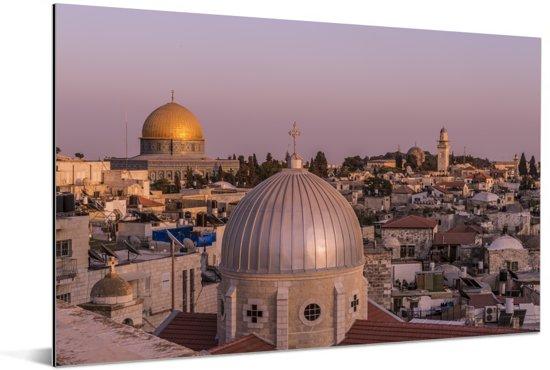 Uitzicht op Jeruzalem en de Heilig Grafkerk in Israël Aluminium 90x60 cm - Foto print op Aluminium (metaal wanddecoratie)