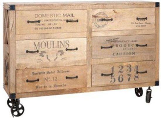 Bol.com duverger industry commode kast hout & metaal met 6 laden