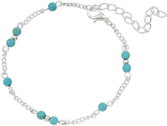 Armbandjesdirect - Enkelbandje Turquoise kralen zilverkleurig
