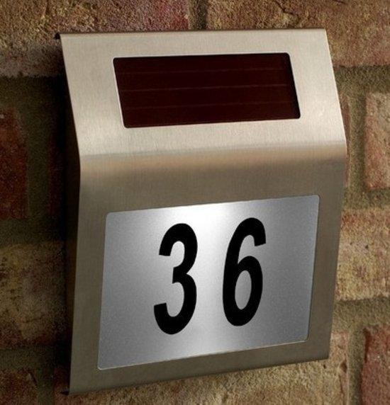 bol.com | Solar Led Huisnummerbord met Licht / Huisnummer ...