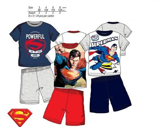 Superman shortama maat 92/98 rechts