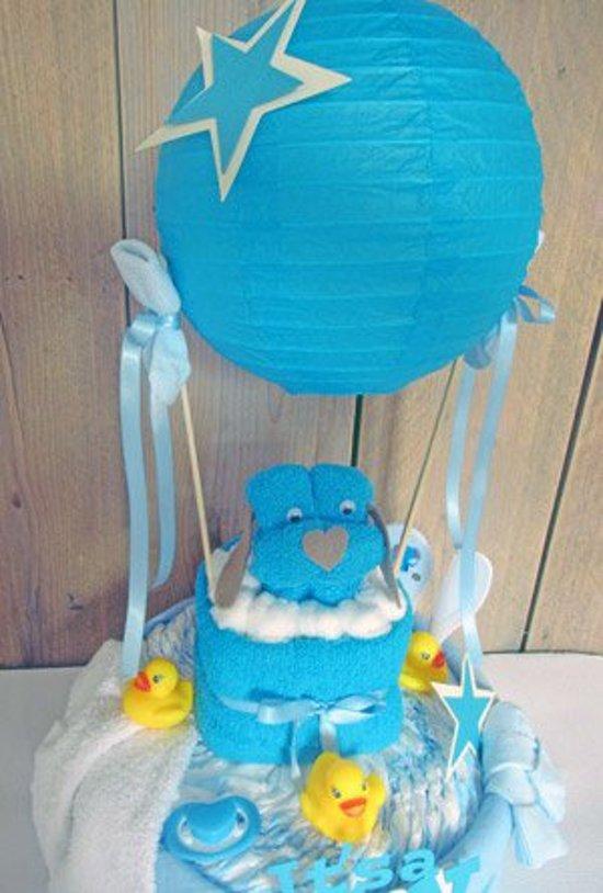 Luiertaart Luchtballon Blauw | Kraamcadeau | Kraampakket | Baby Cadeau
