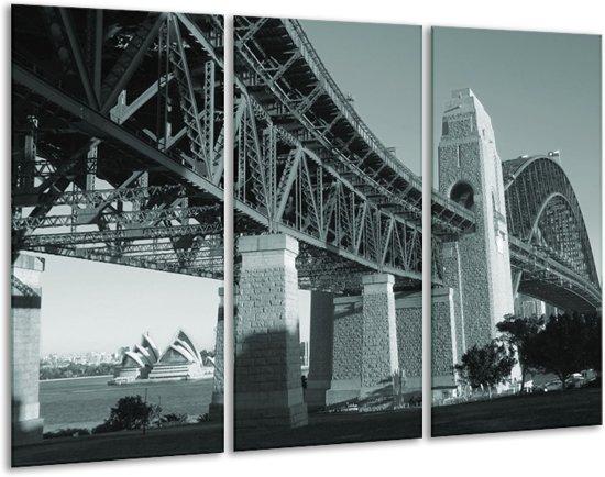 Schilderij | Canvas Schilderij Steden, Brug | Grijs, Groen | 120x80cm 3Luik | Foto print op Canvas