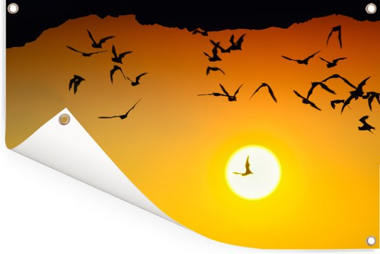 Oranje zonsondergang bij het Nationaal park Gunung Halimun in Indonesië Tuinposter 90x60 cm - Tuindoek / Buitencanvas / Schilderijen voor buiten (tuin decoratie)