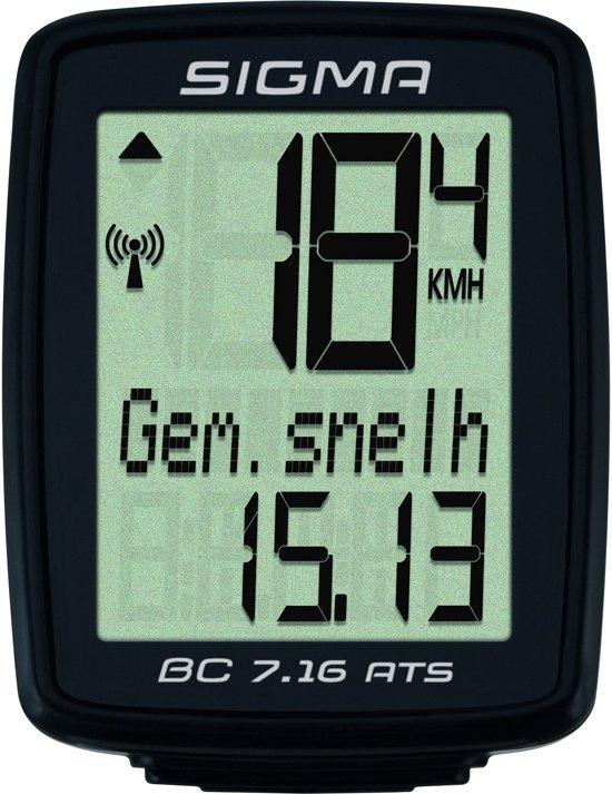 Sigma BC 7.16 Fietscomputer - 7 functies - Draadloos - Zwart