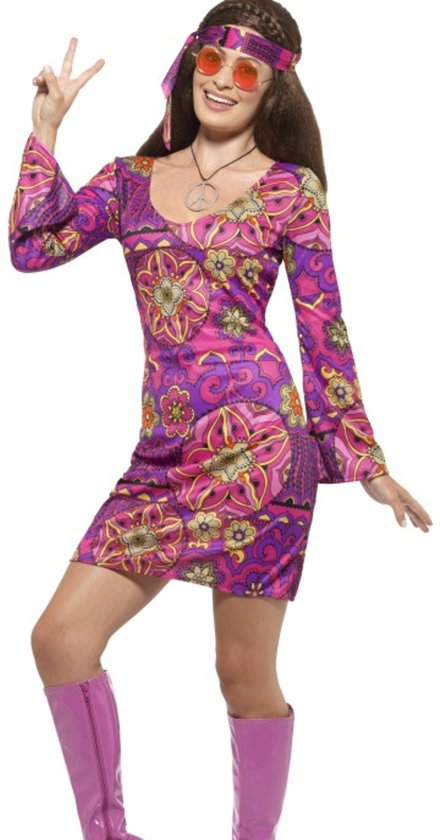 Woodstock Hippie Chick Costume Multi-Coloured with Dress Headscarf & Medallion