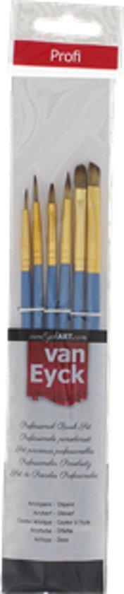 6 Delige Professionele Van Eyck Penselenset voor Acrylverf & Olieverf | Penselen 6 stuks | Schilderen / Knutselen \ Verven | Hobbypenselen | Kwast