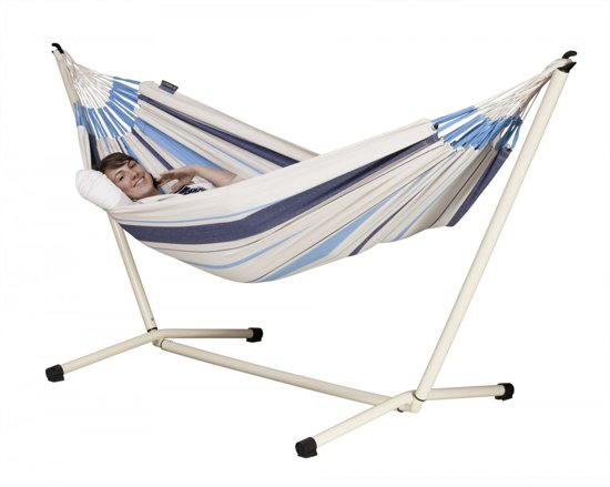 Hangmatset: Single Hammock CARIBEÑA aqua blue + Single hammock stand NEPTUNO
