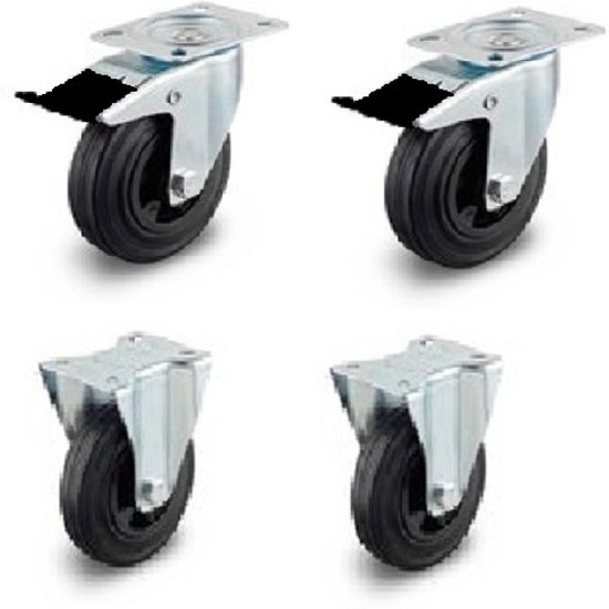 Super bol.com   2 zwenkwielen met rem 2 bokwielen 125mm NU11