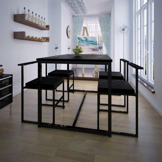 bol.com | vidaXL Eetkamer set 5-delig zwart