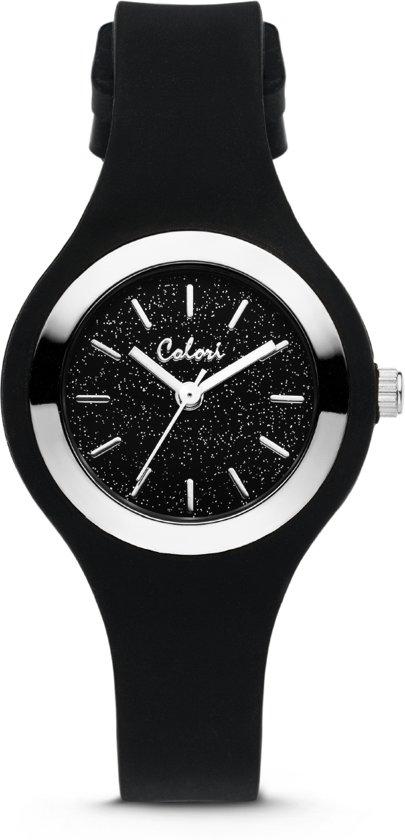 Colori Macaron Sparkle 5-COL540 - Horloge - siliconen band - ø 30 mm - zwart / zilverkleurig