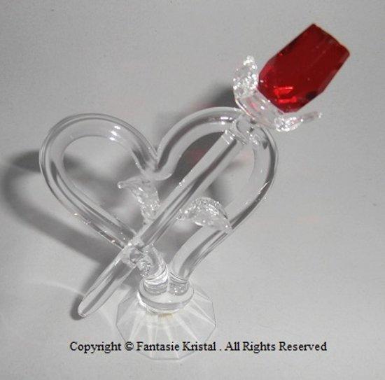 Rode roos met hart