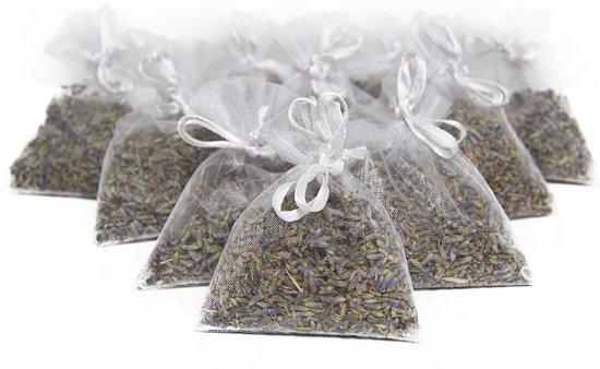 Biologische Lavendel uit Frankrijk. Tien geurzakjes met vijf gram biologische, pure lavendel. Voor in huis of in de auto. Geurige lavendel ter bevordering van de ontspanning, tegen insecten, muggen, en voor een heerlijke geur. Echte lavendel. Wit