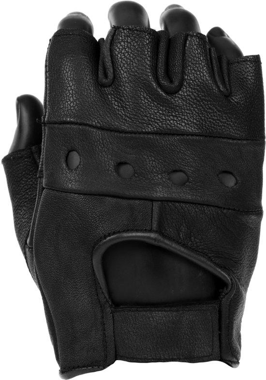 bol | lederen handschoen zonder vingers zwart polsmof