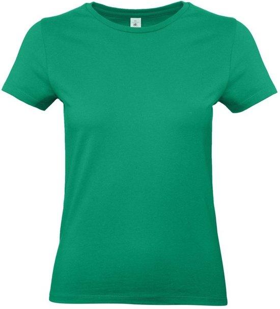 Basic dames t-shirt groen met ronde hals - Groene dameskleding casual shirts 2XL (44)