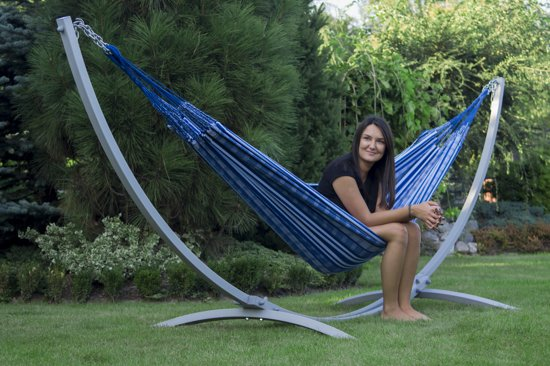 Potenza Grande sky – stabiele en duurzame hangmatset 2 personen / tweepersoons hangmat met standaard uit Colombia (grafiet)