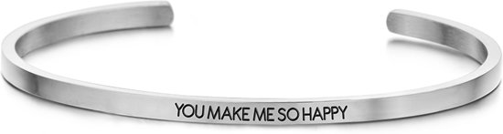 Key Moments 8KM-B00450 - Stalen open bangle met tekst - you make me so happy - zirkonia - one-size - zilverkleurig