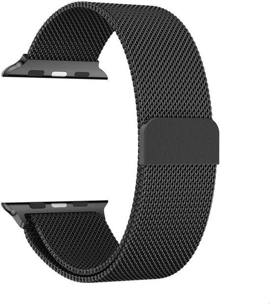 Milanese Loop Armband Voor Apple Watch Series 4 44 MM Iwatch Metalen Milanees Horloge Band - Zwart
