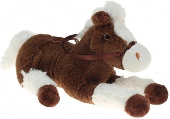 Speelgoed pluche paard/pony donkerbruin met wit 30 cm