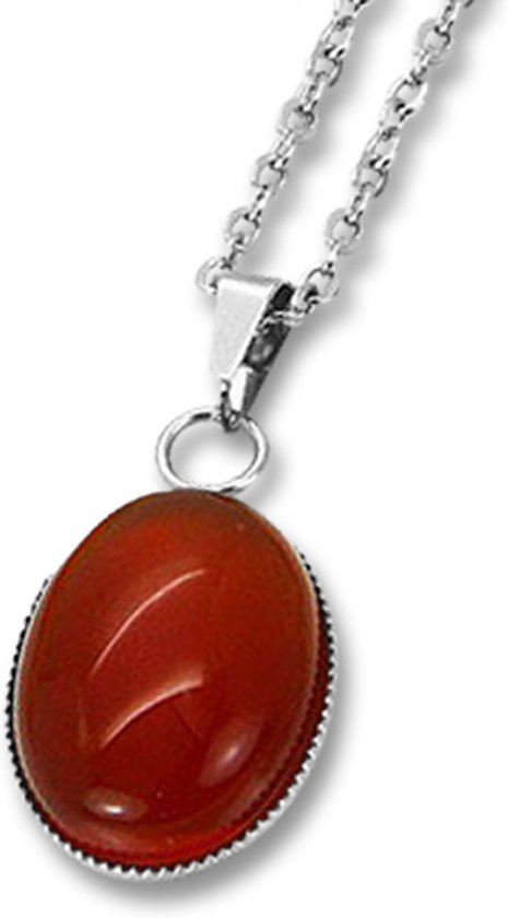 Amanto Ketting Dilin Red - Dames - 316L Staal  PVD - Natuursteen - 19x14mm - 50cm