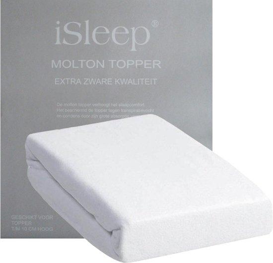 iSleep Molton Topper - 100% Katoen - Litsjumeaux - 180x200 cm - Wit