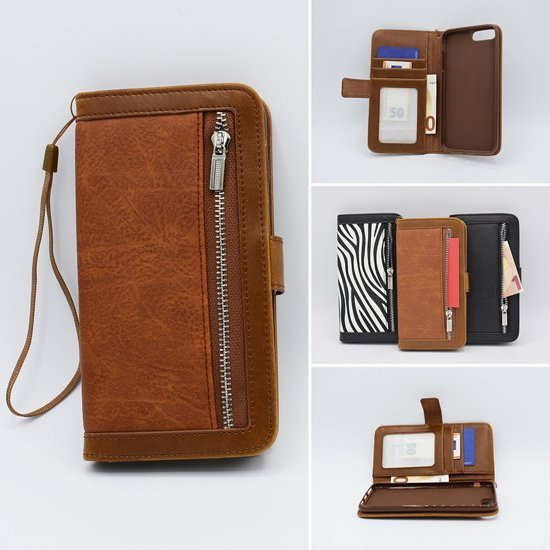 H.K. Bookcase bruin met rits + portemonnee geschikt voor Samsung Galaxy A50