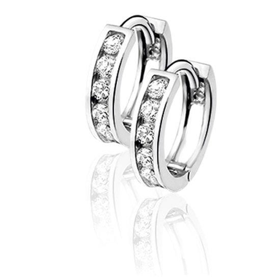 Silventi 921201573 Zilveren klapoorringen - vierkant zirkonia - diameter 13 mm - zilverkleurig