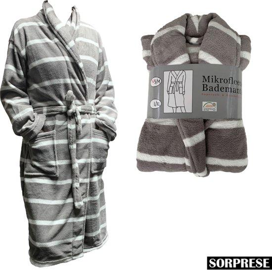 Sorprese - Luxe badjas - maat L/XL - Extra zachte badstof - MICRO FLEECE - badjas - bad jas - ochtendjas - Design B