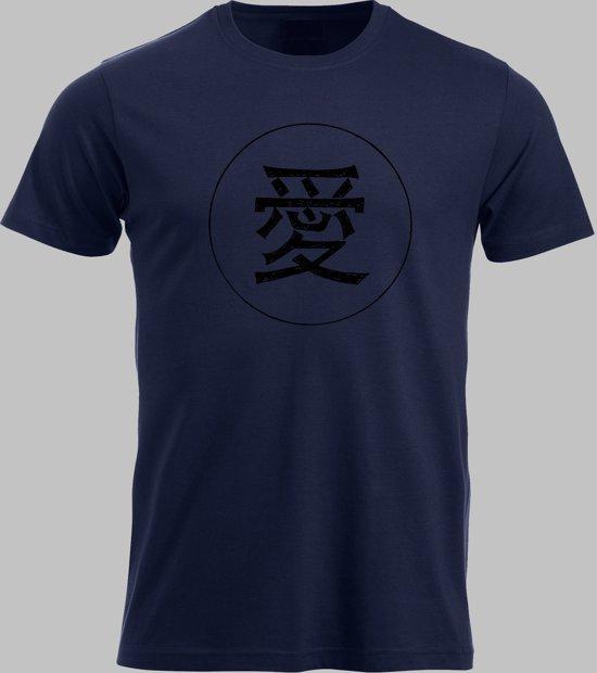 T-shirt M Chinese teken voor liefde - Darknavy - M - S Sportshirt