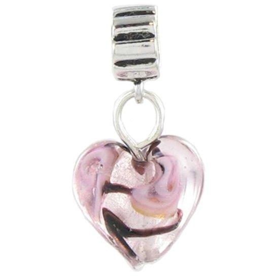 Quiges Bedel Bead - 925 Zilver - Roze Hart van Glas Hanger Kraal Charm - Z376